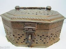 Old Brass Cricket Box Cage ornate floral design throughout octagonal