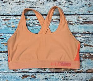 Womens UNDER ARMOUR Sports Bra Large Orange Crossback