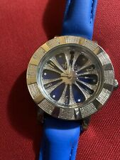Spinning Wheel Watch 24 Diamonds Ny Techno Mens Hip Hop