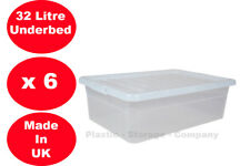 6 X 32 LITRE UNDERBED CLEAR LID PLASTIC BOX HOME SHOES CLOTHES PACK OF 6 CHEAP!