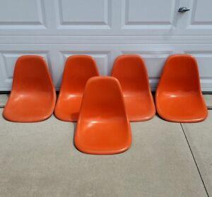 Set of 5 Vintage MCM Herman Miller Fiberglass Shell Chairs Orange