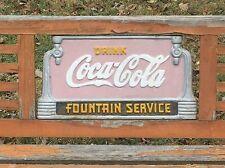 Vintage Orig. Coca Cola Advertising Park Bench Cast Iron Fountain Service Sign