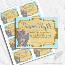 Dumbo Baby Shower Blue Diaper Raffle Tickets / Printed Set Of 10