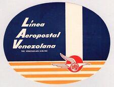 VINTAGE ~ VENEZUELA ~ LINEA AEROPOSTAL VENEZOLANA AIRLINE LUGGAGE LABEL