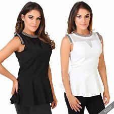 Crew Neck Stretch Blouses Sleeveless Tops & Shirts for Women