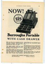1928 Burroughs Adding Machine Co. Ad: 6 Column Portable w/ Cash Drawer. Detroit