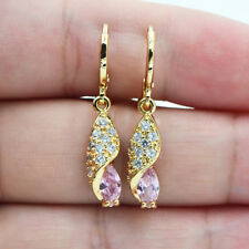 18K Yellow Gold Filled Chic Waterdrop Marquise Pink Topaz Zircon Earrings Lady