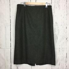 LOFT Size 12 Pencil Skirt Wool Blend Olive Green Knee Length Back Slit Lined