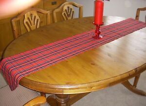 CHRISTMAS BURNS NIGHT RED TARTAN TABLE RUNNER 180cm x 26cm Decoration Pointed