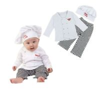Toddler Baby Cook Chef Carnival Outfit Party Tops+Pants+Hat Set Fancy Costume