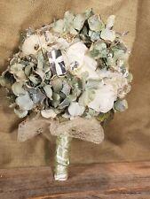 Mint cream silver winter wedding bouquet
