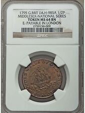 1795 Britain Middlesex National Half Penny Conder Token D&H-985A - NGC MS 64 BN