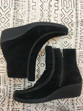 Sporto Suede Wedge Ankle Booties Womens 9 Black Square Toe Zipper