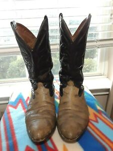 Mens Exotic Tan Black Cowboy Worn In Work Boots  Made in Mexico sz 12