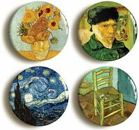 4 x VINCENT VAN GOGH BADGE BUTTON PINS (1inch/25mm diameter) ART SUNFLOWERS