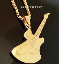 "Gold Stainless Steel CZ Music Guitar Pendant & 24"" Round Box Chain Necklace 189G"