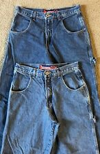 2 Pairs VTG 90s JNCO Baggy Fit Blue Jeans - Tagged 32x32 - Measured 31x31