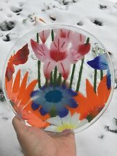 "Fusion Art Glass Plate 8"" ~ Fall Garden ~ Wm McGrath Hand Crafted Art Glass Gem"