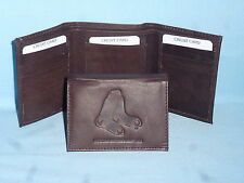 BOSTON RED SOX    Leather TriFold Wallet    NEW    dkbr 3  m1