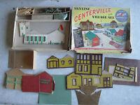 Vintage 1950s Skyline Centerville Village Cardboard Building Set with Box Look