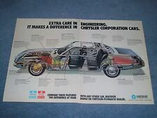 """1973 Chrysler Corp. Vintage 2pg Ad """"Extra Care in Engineering"""""""