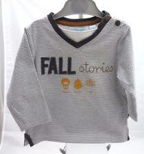 Obaidi Tee-shirt gris rayé blanc fall stories manche longue bébé garçon 12 mois