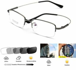 Mens Half Rim Photochromic Flexible Memory Titanium Sun Reading Glass +25 ~ +600
