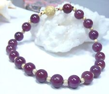 """RARE AMAZING GENUINE NATURAL AFRICAN RED RUBY 7mm SPHERES 14K GOLD BRACELET 8"""""""