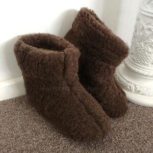 Merino's Brown Sheep Wool Boots Slippers Sheepskin Suede Sole Womens Ladies Mens