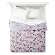 New Simply Shabby Chic Violet Rose Linen Blend Stitched Twin Quilt