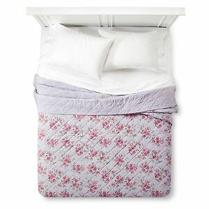 Simply Shabby Chic Violet Rose Linen Blend Stitched King Quilt & One King Sham