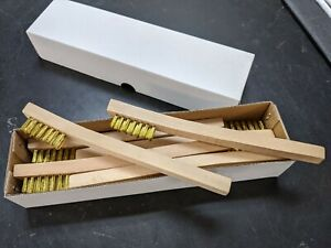 New 12 Brass Mini  Wire Brushes w/wood handle -Tooth brush- Free Ship