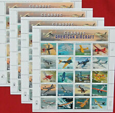 Four Sheets x 20 = 80 CLASSIC AMERICAN AIRCRAFT 32¢ US PS Postage Stamps. # 3142