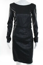 Karl Lagerfeld Black Faux Leather Long Sleeve Sheath Dress European Size 44 New