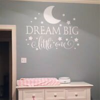 Dream Big Little One Wall Sticker Decal Quote Nursery Bedroom Baby Boy Kid Decor