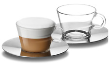 Nespresso 2 View Cappuccino Glass Cups & 2 Stainless Steel Saucers Brand New