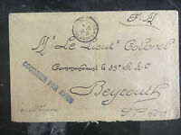 1924 France Airmail Cover to Army Colonel Beirut Lebanon Stampless