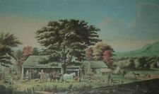 AUTUMN IN NEW ENGLAND CIDER MAKING Currier & Ives G.B. Durrie Color Print