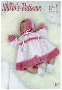 Knitting Pattern for Babies Matinee Jacket, Trousers and Hat/Bonnet, 0 to3 an...