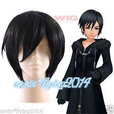 2015 Kingdom Hearts Xion Short Black Anime Cosplay full Wigs + free wig cap