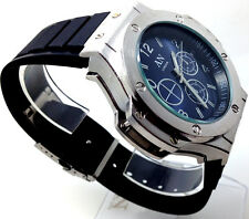 170P Men Police Classic Wrist Watch Silver Case Black Band Blue Chronograph Dial