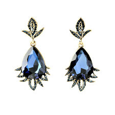 Costume Fashion Earrings Stud Vintage Gold  Blue Navy Leaves Class Marriage A12