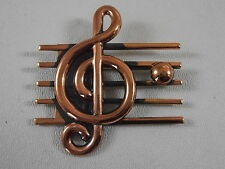 Vtg Copper Designer Signed Renoir Treble Clef Pin Brooch Staff Measure