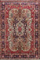 Geometric Traditional Busy Pattern Tebriz Vintage Area Rug Hand-made Wool 7'x10'
