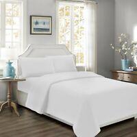 Mellanni 4-Piece Bed Sheet Set 100% Cotton Percale 300TC Natural w/ Deep Pockets