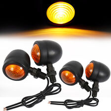4x Motorcycle Retro Amber Turn Signal Indicators Metal Bulb Lights Rear Front