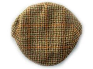 Yorkshire hand tailored wool tweed flat cap Houndstooth Beige/Green BRITISH MADE