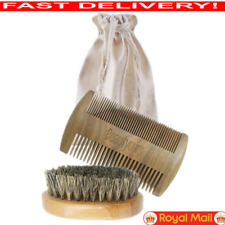 Boar Beard Brush Comb Kit For Men Grooming With Travel Bag Handmade UK