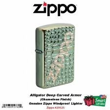 Zippo Alligator Carved Armor Case Lighter, Chameleon, Windproof #29525