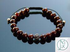 Om Bracelet Garnet Gemstone Sterling Silver 7-8'' Macrame Healing Stone Chakra
